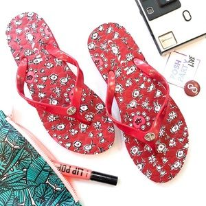 NEW COACH RED FLORAL ABBIGAIL RUBBER FOAM FLIPFLOP